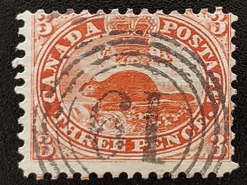 Canada #12 VG+ London 4-ring 19 Used 1859 3d Perforated Pence