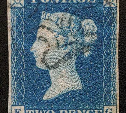 G.B. #2 F/VF black M/C Used 1840 2d Blue, sml flaws