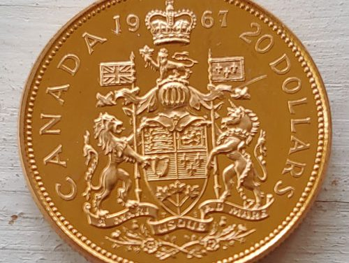 Canada Specimen 1967 single year type Gold $20 .5253oz AGW