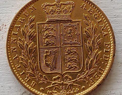 G.B. XF 1868 Shield type Victoria Gold Sovereign lt scratch .235oz AGW