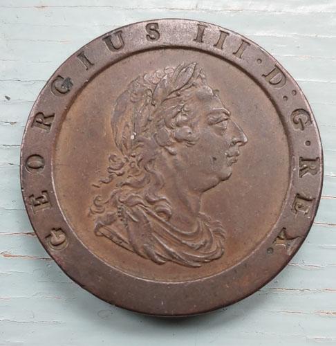 G.B. VF+ 1797 George III Cartwheel Two Pence US$210+