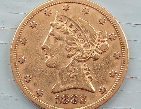 U.S.A./Colonial Canada F/VF 1882 Liberty Gold $5 Half Eagle .24187 oz