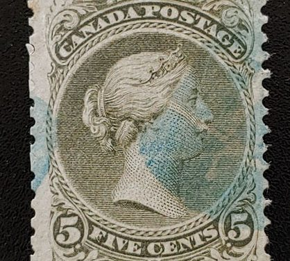 Canada #26a F/VF Used 1875 5c Perf 12 Large Queen lt crease