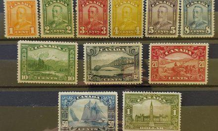 Canada #149-159 gen VF Mint 1928/29 Scroll Set, $1 thin (11)