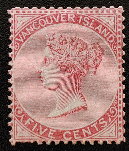 Vancouver Island #5 Fine Used 1865 5c Rose, sml flaws $400