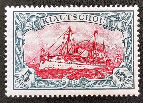 Kiauchau #22 Fine+ Mint 1901 5mk Yacht