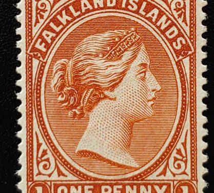 Falkland Islands #11 Fine Mint HR 1891/1902 6d Reversed Watermark