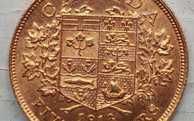 Canada Unc 1913 Gold 5 Dollars .2419oz AGW