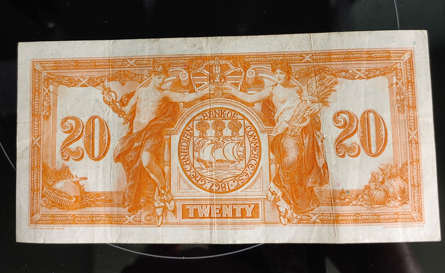 Canadian Bank of Commerce Fine+ 1935 $20 Banknote $175+