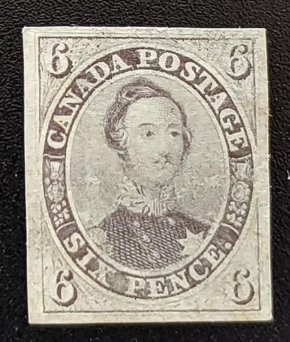 Canada #10 VF Used 1857 6d Thick Soft Paper, tiny tear $9000