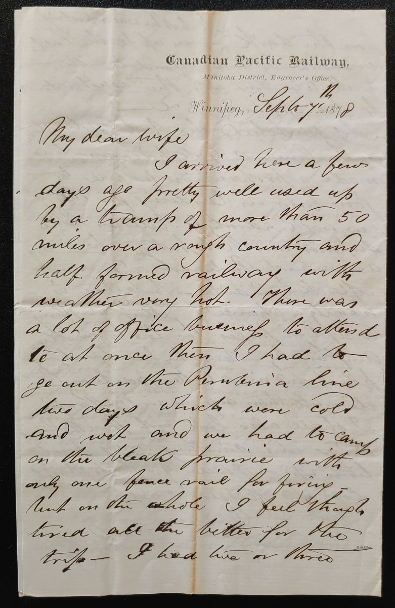 C.P.R. Manitoba District Engineer's Office 7 Se 1878 Marcus Smith letter