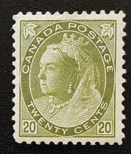 Canada #84 VF Mint 20c Olive Green, disturbed gum $1000