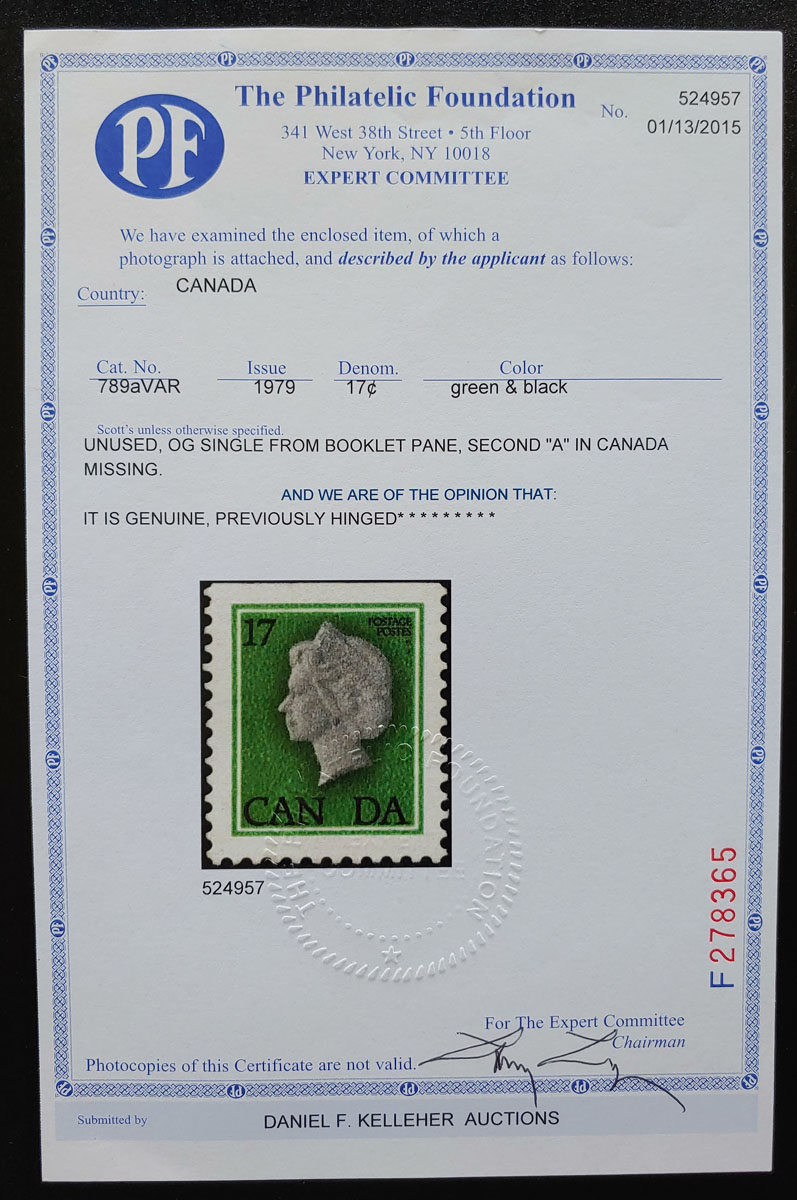 Canada #789a F/VF Mint 1979 17c Missing A in Canada unique Variety