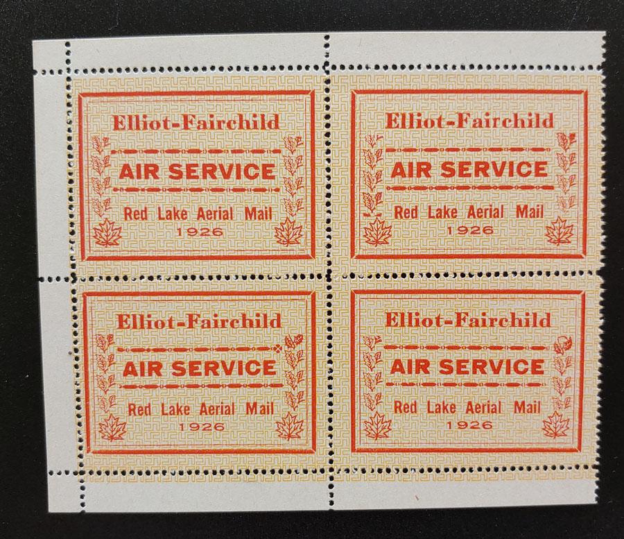 Elliot-Fairchild #CL8c in F/VF Never Hinged 1926 25c Pane $330. (4)