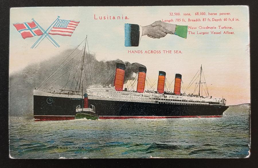 S.S. Lusitania 27 Fe 1910 1d Hands Across the Sea Postcard to Cda
