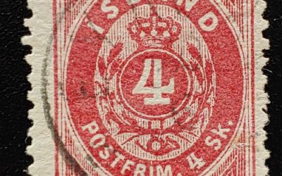 Iceland #6 Fine Used 1873 4s Carmine