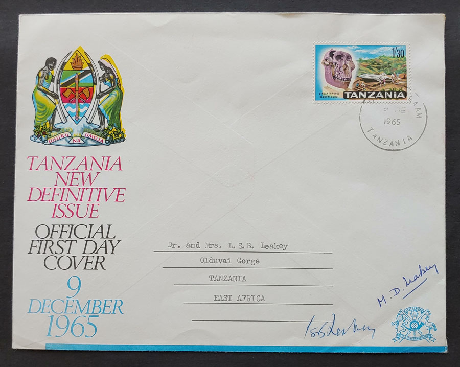 Tanzania #14 9 Dec 1965 FDC signed by Leakeys, some mt mks