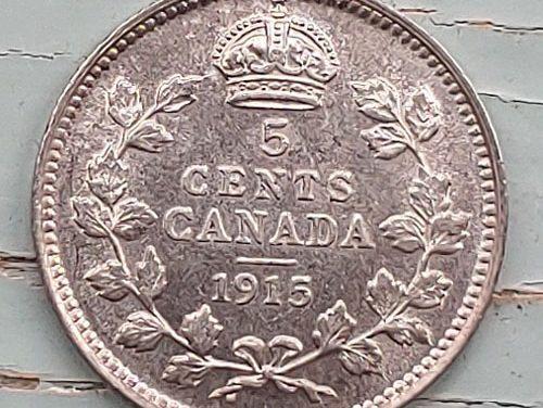 Canada BU 1915 George V Silver 5 Cents