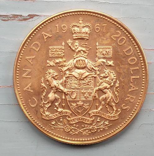Canada BU 1967 Centennial Gold single year type $20