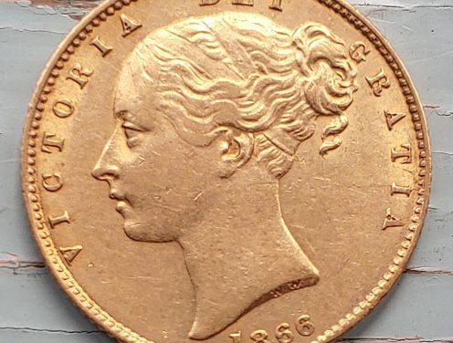 G.B. VF+ 1886 Shield Type Die 47 Victoria Gold Sovereign, die crack
