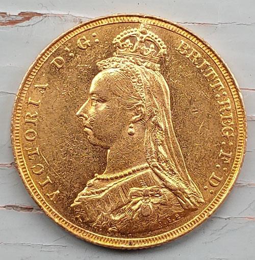 G.B. XF 1887 Queen Victoria Jubilee Gold Sovereign .2355oz AGW