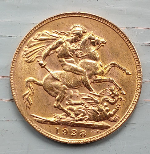 South Africa XF+ 1928 George V Gold Sovereign