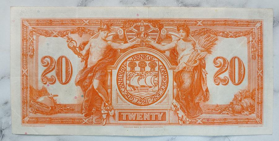 Cdn Bank of Commerce Fine+ 1935 $20 Banknote $175+