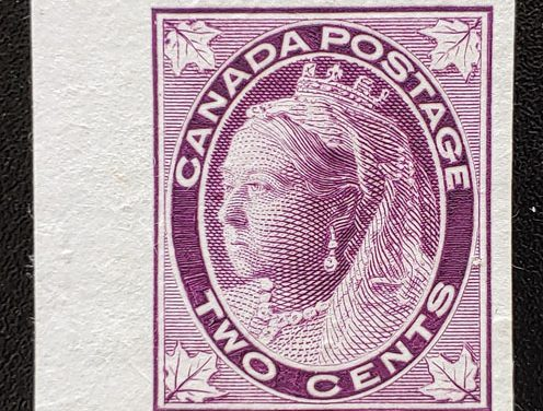 Canada #68Pi VF 1897 2c Dull Purple QV Leaf Plate Proof
