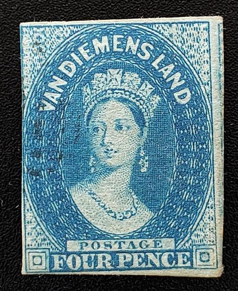 Tasmania #9 Fine Used 1857 4d unwatermarked US$140