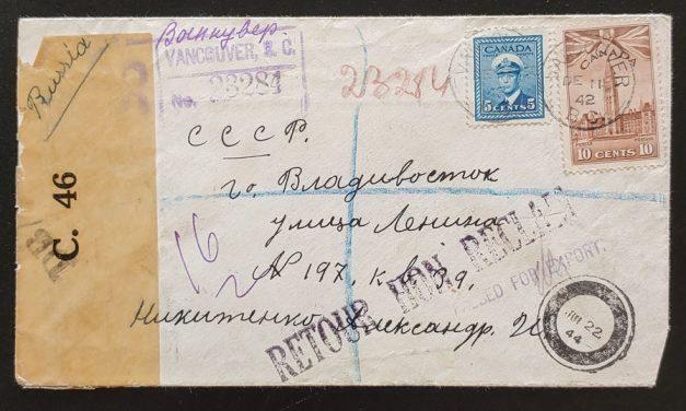 Vancouver, B.C. 11 Dec 1942 15c returned Reg. Russian Dead Letter
