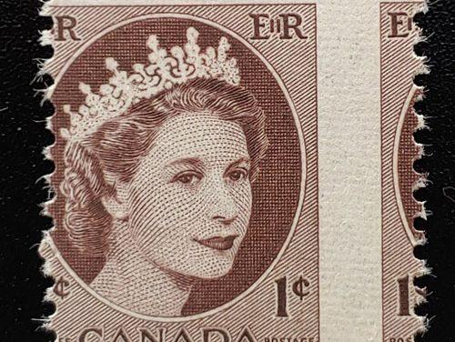 Canada #337 Never Hinged 1954 1c Wilding Misperf ex Penko