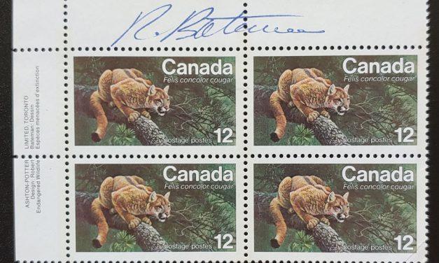 Canada #732 VFNH Robert Bateman signed UL 1977 12c Cougar PB