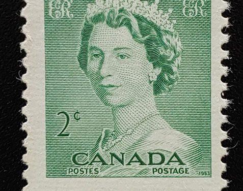 Canada #326 Mint 1953 2c Karsh QEII Misperf