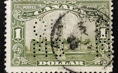 Canada #OA159 Fine Used 5-hole Perf OHMS $1 Parliament