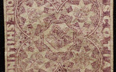 Nova Scotia #6 VF Used 1857 1/- Reddish Violet, corner crease