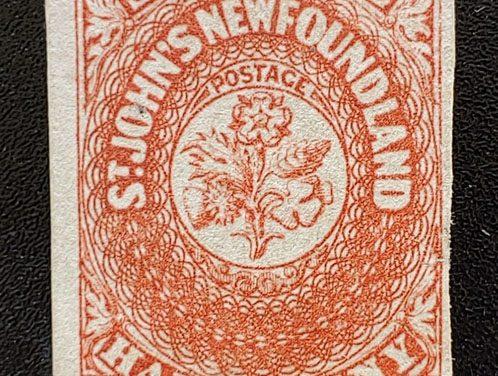 Newfoundland #7 F/VF Unused 1857 6.5d Scarlet Vermilion, thin
