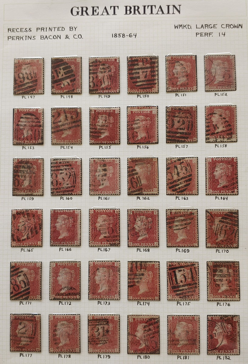 G.B. #33 Used 1858/64 1d Reds Plates 147/182 on page US$191 (36)