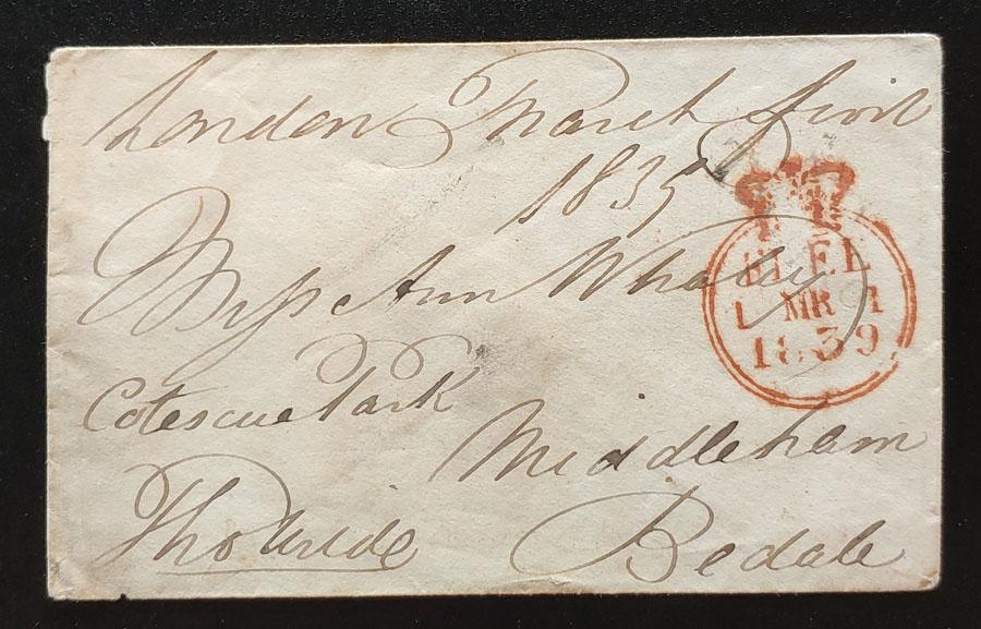 G.B. 1 Mar 1839 Prestamp London/Bedale Cover