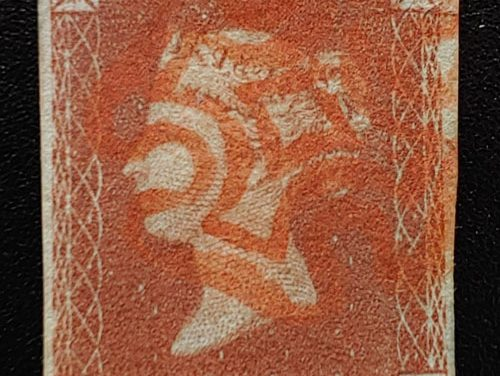 G.B. #3 Fine Used 1841 red M/C Used 1d Red Position T-J