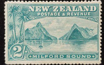 N.Z. #82 Fine+ Mint HR 1898 1/- Blue Green