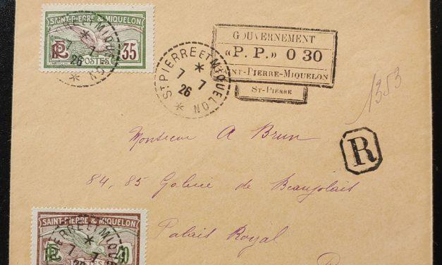 St. Pierre & Miquelon 7 Jl 1926 Registered Cover to Paris w/ Prov. h/s