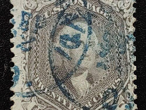 U.S.A. #70a Fine blue CDS Used 24c Brown Lilac