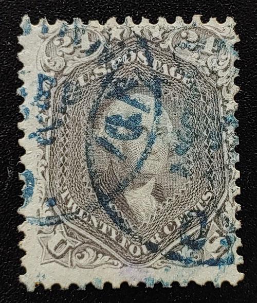 U.S.A. #70a Fine blue CDS Used 24c Brown Lilac US$350