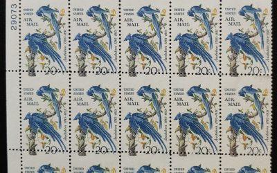 U.S.A. #C71 Never Hinged 1967 20c Audubon Misperf Plate Block (15)
