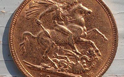 Australia F/VF 1902M Edward VII Gold Sovereign .234oz AGW