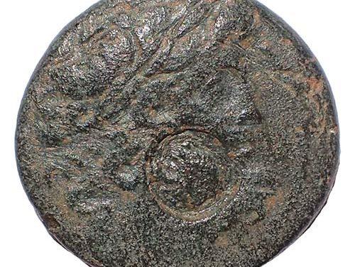 """Antioch AE Tetrachalkon w/ Cleopatra VII countermark. """"The donations of Alexandria"""""""