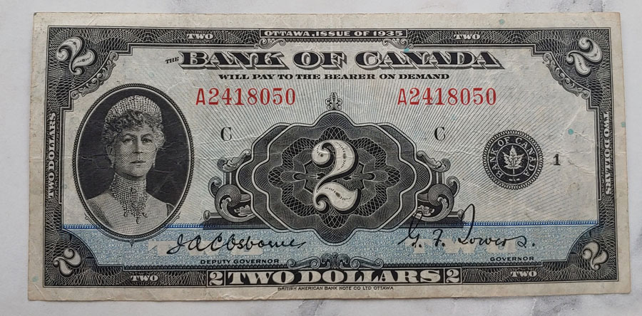 Canada #BC3 Fine 1935 $2 Queen Mary Banknote $200