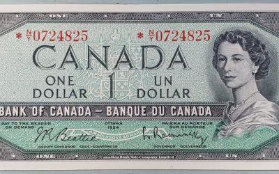 Canada #BC37bA Unc 1954 prefix *N/Y $1 Replacement Note