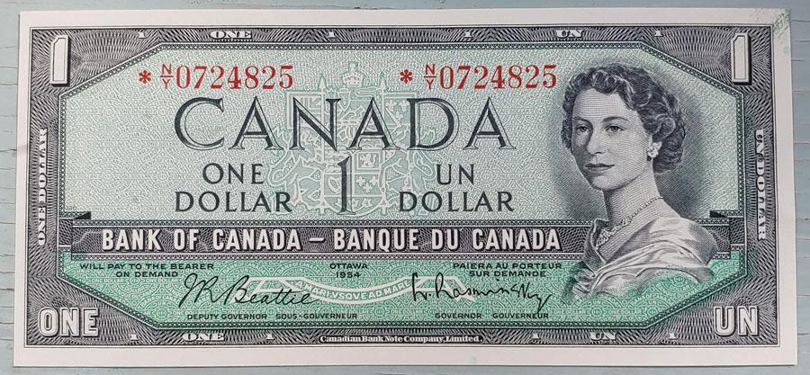 Canada #BC37bA Unc 1954 prefix *N/Y $1 Replacement Note $400
