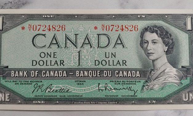 Canada #BC37bA Choice Unc 1954 prefix *N/Y $1 Replacement Note